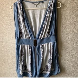 Knitted & Knotted Blue Cream Sleeveless Cardigan M